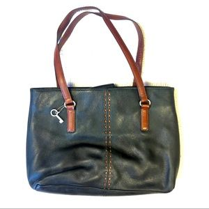 FOSSIL Genuine Leather Black & Brown Purse! ❤️